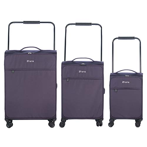 ZFrame 4 Double Wheel Super Lightweight Suitcase 3 Piece Set, 18, 22, 26 inch, Purple, 10 Year Warranty (SH2228383PCDWPURMIL)