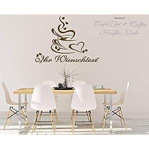 """*NEU* Wandaufkleber Wandtattoo Wandsticker für die Küche/Esszimmer""""Kaffee Tasse + Wunschtext"""" (Größen.- und Farbauswahl)"""