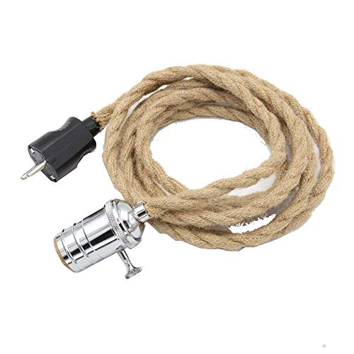 REACHYEA - Juego de 3 metros de cable de cáñamo para lámpara de techo, casquillo E27, cobre, color blanco
