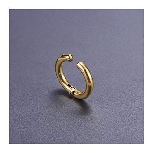 FKJSP 1 pieza de acero inoxidable sin dolor, pendientes de oreja redondos, no perforantes, pendientes falsos nuevos y populares de joyería de moda (color metálico: oro)