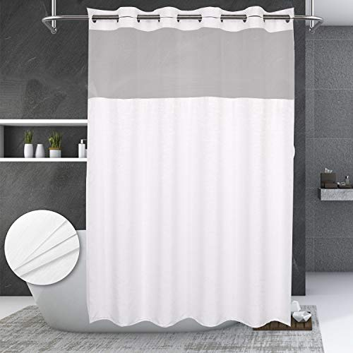 No Hooks Needed Textrue Fabric Shower Curtain with Snap in Liner - Hotel Grade, Spa Like - 71x74 inch, White