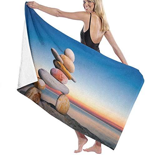 CANCAKA Toalla de Playa de Microfibra,Figura de Inukshuk en la Costa contra la Puesta de Sol,Toalla Deportiva Secado Rápido Absorbente para Deportes Viajes Playa Camping
