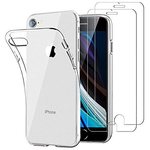 iLiebe Handyhülle mit iPhone 7/8/SE 2020 Hülle + [2 Stück] Panzerglas Schutzfolie, Durchsichtig Hülle Transparent Silikon TPU Schutzhülle 9H Festigkeit HD Panzerglasfolie Glas