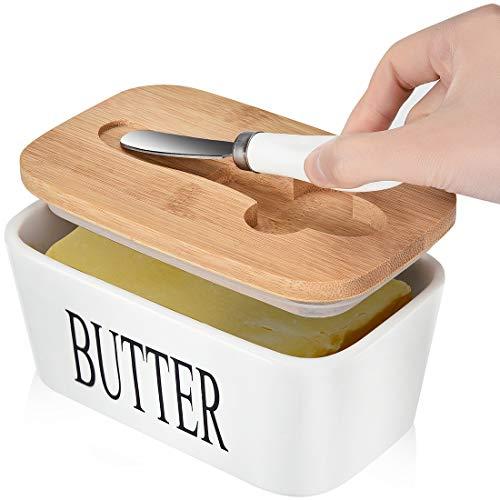 Große Porzellan-Butterdose mit Deckel, Butterbehälter mit Messer, fasst 2 Stäbchen Butter mit Doppel-Silikondichtung, Keramik-Butterdose mit Deckel, perfekt für Ostwestküsten-Butter, weiß