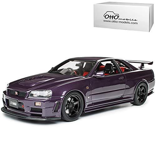 Nissan Skyline R34 GT-R Nismo Z-Tune Midnight Purple Schwarze Felgen 1998-2002 Nr 811 1/18 Otto Modell Auto