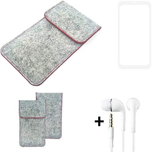 K-S-Trade® Handy Schutz Hülle Für Vestel V3 5580 Dual-SIM Schutzhülle Handyhülle Filztasche Pouch Tasche Hülle Sleeve Filzhülle Hellgrau Roter Rand + Kopfhörer