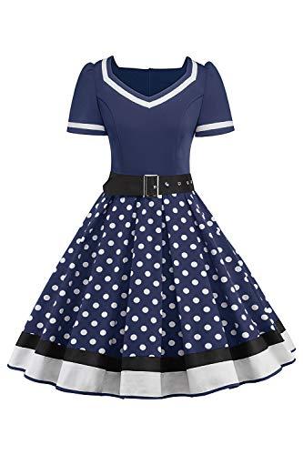 MisShow Damen elegant 50er Jahre Petticoat Kleider Gepunkte Rockabilly Kleider Cocktailkleider, Navyblau, L