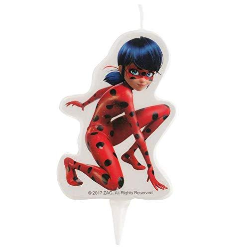 dekora 346183 Vela de Cumpleaños 2D Ladybug, Cera, Multicolor, 9cm