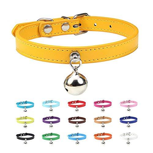 Baiteng 6 STK Farbe Vollleder Katzenhalsband mit Glocke Welpenhalsband Sicherheits...