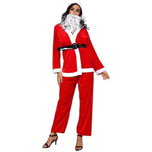 HULKY 5PCS Conjunto de Navidad Mujer, Disfraces Navidad Adulto, Abrigo de Felpa + Pantalones Rojo + Sombrero Pompon + Cinturón + Barba Papa Noel, para Cosplay Rendimiento Fiesta Discoteca M