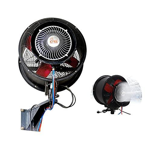 FUFU Climatizadores evaporativos Ventilador de montaje en pared oscilante de alta velocidad interior, ventiladores al aire libre para patios impermeables Oscilating Wall Mount Misting, nuevo modelo de