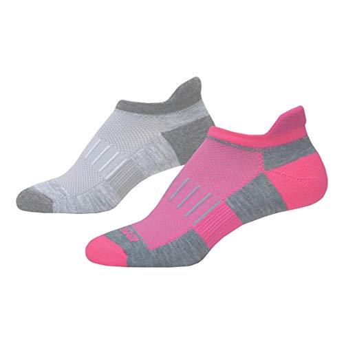 Brooks Ghost Midweight Tab 2-Pack Running Socks Oxford/Asphalt & Oxford/Bright Pink Size Medium