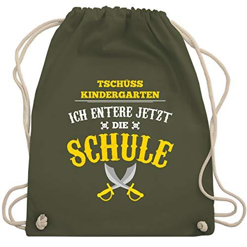 Shirtracer Einschulung und Schulanfang - Tschüss Kindergarten Pirat - Unisize - Olivgrün WM110 - Turnbeutel und Stoffbeutel aus Baumwolle