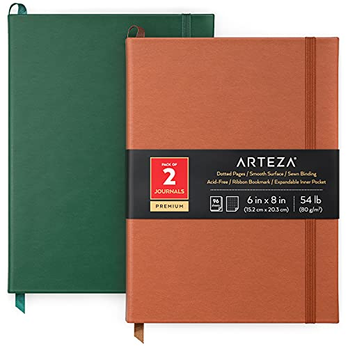 Arteza Bullet Journal Notebooks, Pack of 2, 6 x 8 inch, 96 Sheets, Hunter Green and Saddle, Hardcover Notepads with Smooth Dotted Paper for Writing, Journaling