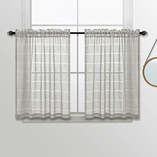 KOUFALL Linen Look Tier Short Curtains-Beige-30x24