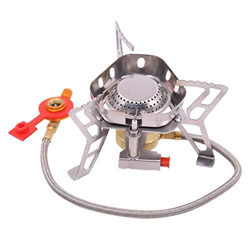 Fesjoy Mini estufa de gas portátil Split tipo Outdoor Camping resistente al viento quemador de gas