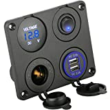 Sunjoyco 4 in 1 Dual USB Socket Charger 2.1A & 2.1A + LED Voltmeter + 12V Power Outlet+ ON-Off Toggle Switch, Multifunction Panel for Car Boat Marine RV Truck Camper Vehicles GPS Mobiles (Blue)