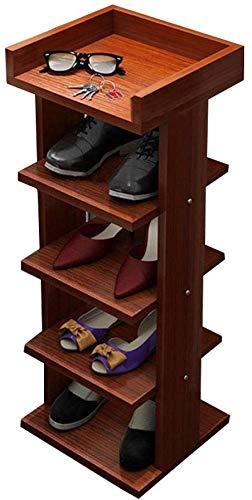 Lloow Schmale Schuhregal einfache einreihige Schuhschränke Ständer Schuh Storage Rack Multifunktions-Schlaf- / Wohnzimmer/Flur/Bad Regal, 5 Etagen,Braun