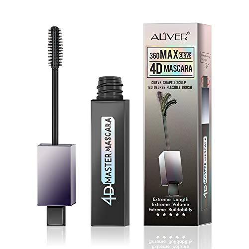 4D Silk Fiber Lash Mascara 360 Max Curve - Waterproof, Luxuriously Longer, Thicker, Voluminous Eyelashes, Long-Lasting, Dramatic Extension, Smudge-proof, Hypoallergenic Formula