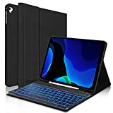 iPad 9.7 Case with Keyboard for 6th Generation(2018), 5th Gen(2017), Air 2/Air, iPad Pro 9.7, Protective Case with Pencil Holder, 7 Color Backlit Bluetooth Detachable Keyboard, Auto Sleep/Wake - Black
