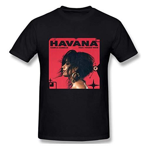 VJSDIUD Camila Cabello Camiseta básica de Manga Corta clásica Creativa para Hombre Camisetas con Cuello Redondo Tops