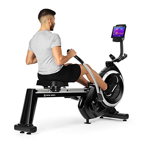 Capital Sports The Skyf Rudergerät Ruderbank Rowing Machine - hocheffizientes Training, 16-stufiger Magnetwiderstand, 90 cm Lange Aluminium-Gleitbahn, Tablethalterung, Trainingscomputer, schwarz