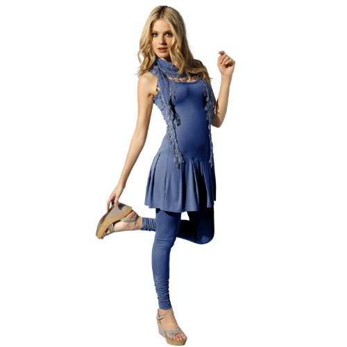 Heine - Best Connections Damen-Kleid Kleid mit Spitzenunterrock Blau Größe 40