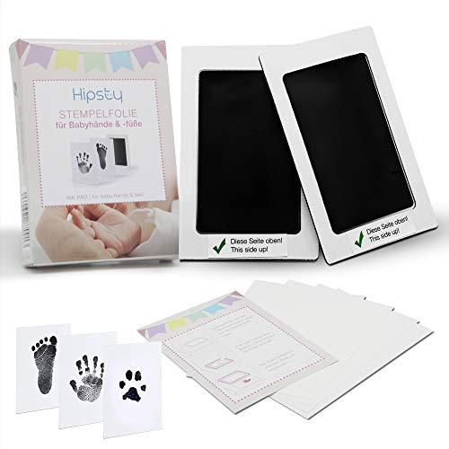 Hipsty Baby Abdruckset | Baby Fussabdruck Set & Handabdruck Set | 2 Stempelfolien für einen schönen Baby Handabdruck und Fußabdruck | Auch geeignet als Pfotenabdruck Set Hund oder Katze