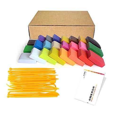 SIMUER Polymer Clay, Polymer Ton 24 Farben Ofen backen DIY bunter Ton mit Zubehör und Skulptur Werkzeug-Set Knete Set Modellierung Buntes DIY Weich Handwerk Ton Spielzeug für Kinder