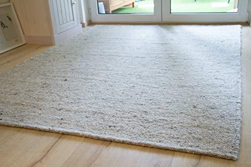 Steffensmeier Handweb Teppich Korinth | Gesunder Wollteppich | Beste Schurwolle | Grau Beige, handgewebt, Größe: 130x190 cm
