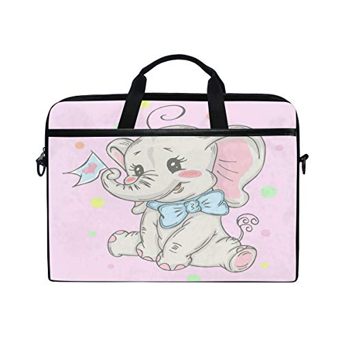 HAIIO Laptop Bag Case Cute Cartoon Elephant Animal Pattern Computer Protector Bag 14-14.5 inch Travel Briefcase with Shoulder Strap for Women Men Girl Boys
