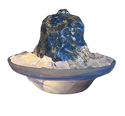 Troester\'s Brunnenwelt Zimmerbrunnen Lapis Lazuli Blue Note mit Pumpe, Licht und Bergkristall-Chips, Quellstein aus echtem Lazuli
