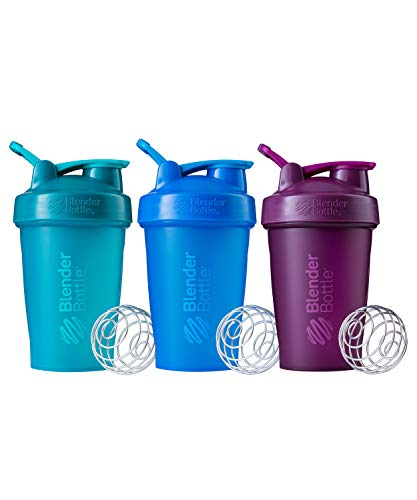 BlenderBottle Classic Shaker Bottle Perfect for Protein Shakes and Pre Workout, 20-Ounce (3 Pack), Teal and Plum and Cyan