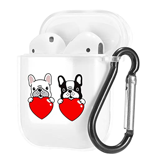 Cute Animal Pets French Bulldog Pattern Clear Case for AirPods 1/2 with Carabiner,Shockproof TPU Case Cover for AirPods 1/2 Charging Case,Soft Flexible Protective Transparent Case,Double Heart