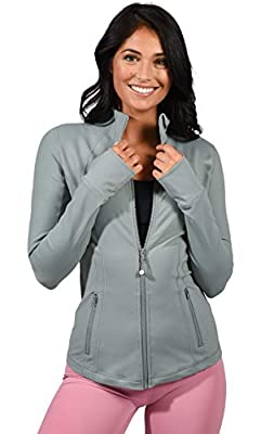 90 Degree By Reflex Women's Lightweight, Full Zip Running Track Jacket - Chinois Green - Large by