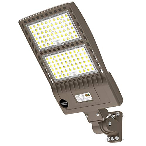 LED Parking Lot Light 320W UL Listed 44800LM Led Shoebox Pole Light Fixture Round & Square in One Mount 1000W HID/HPS Replacement 5000K IP65 AC100-277V 10KV Surge Outdoor Commercial Area Lighting