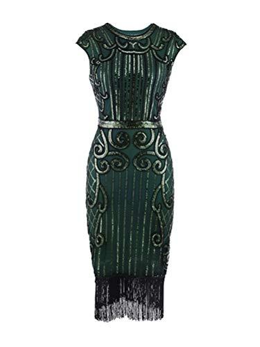 Tomwell 1920s Stil Kleid Damen Flapper Mit Kurzem ärmel Gatsby Motto Party Kostüm Vintage Frauen...