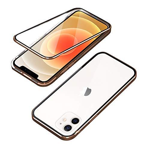HaptiCover - Carcasa para iPhone 12, adsorción magnética CNC Diamond Edge 360, protección para iPhone 12, potente imán recto, marco de aluminio templado a prueba de golpes, color dorado
