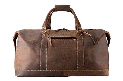 ALPENLEDER® Weekender 'ALABAMA' | Echtes Büffel-Leder | Handgefertigte Reisetasche für Herren und Damen in Braun XL