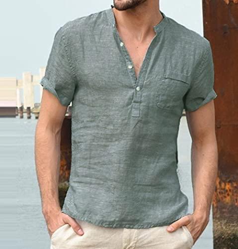 Kurzarmhemd Männer - Sommer Lässig Mode Leinen T-Shirt Herren Retro Stehkragen Sexy V-Ausschnitt Baumwolle Und Leinen Hemd Kurzarmhemd Einfarbig Atmungsaktiv Einfache Business-Party, Dunkelgrün,