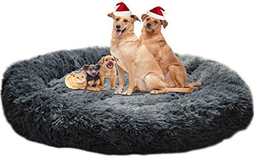 LINRUI Extra große & Waschbar Hundebett XXL Orthopädisches für Grosse Mittlere Hunde Antistress Hundekissen Donut Oval Hoch Hundesofa Hundehöhle XL Flauschiges Rund Kuschelig Dunkelgrau