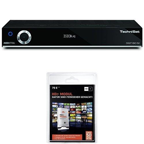 Technisat Digit ISIO S2 - HDTV Twin-Satellitenreceiver (PVR-Funktion via USB oder im Netzwerk, UPnP-Livestreaming 3x USB 2.0, CI+, Ethernet), schwarz + HD Plus Modul inkl. HD+ Sender-Paket für 6 Monate gratis
