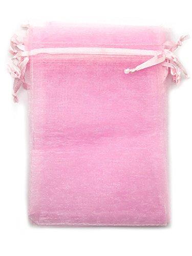 Huaha 60 Pcs Sheer Organza Drawstring Pouches Gift Bags 6x9 Inches (Pink)