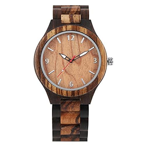 Reloj Retro Reloj deMadera de ébano Reloj para Hombre Reloj dePulsera conBanda de Madera Ajustable para Hombreonlywatch