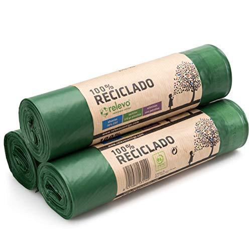 Relevo 100% Reciclado Bolsas de Basura, extra resistentes 50 L, 30 bolsas