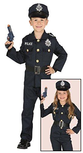 Costume da poliziotto agente di polizia americano bambino bambina, 7-9 anni