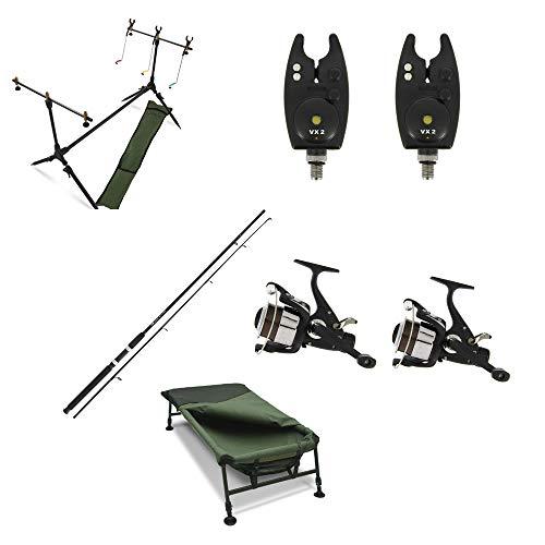 G8DS Komplettes Carp Fishing Set mit einem 2er Pack Ruten, 2 Rollen, 2 Bissanzeigern mit Tasche und einem Rodpod mit DREI Indikatoren, Zwei Buzz Bars und Einer luxeriösen Tragetasche