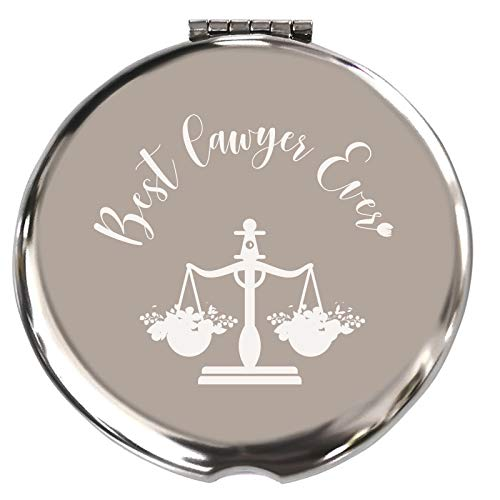 Lawyer Gifts for Women, Funny Lawyer Gifts, Unique Birthday for Paralegal, Attorney or Law Student-Best Lawyer Ever-Makeup Mirror Silver