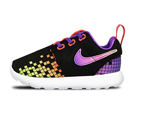 Nike Baby Jungen Roshe One Print (TDV) Schuhe für Neugeborene, Schwarz/Weiß/Violett/Grün (Schwarz/Weiß-Hyper Violet-Volt), 22 EU
