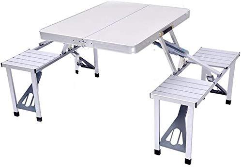 KEMANDUO Portátil Multifuncional Mesa con 4 sillas, aleación de Aluminio Conjoined de Picnic Plegable de sillas y mesas